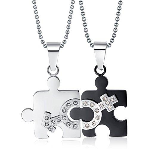 In acciaio inox e zirconia cubica, con doppio simbolo uomo, coppia, Puzzle da collana con pendente, catenina