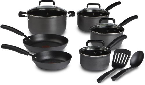 T-fal D913SC Signature Hard Anodized Scratch Resistant PFOA Free Nonstick Thermo-Spot Heat Indicator Cookware Set, 12-Piece, Gray by T-fal