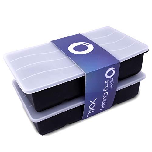 BarLife ICY Cubes XXL mit Deckel - Die Eiswürfelform aus Silikon für riesig große Eiswürfel (2er Set)