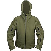Giacca da uomo in pile Recon con cappuccio con camiciotto di sicurezza per combattimento tattico dell'esercito militare e carabinieri in lana US Regno Unito