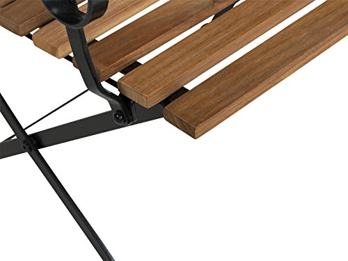 Massivum Sitzbank Seattle Akazie/Metall, schwarz / natur, 59 x 117 x 17, 10024123 - 3