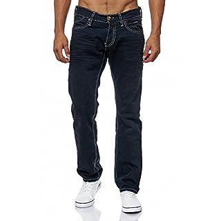 MEGASTYL Herren Männer Jeans Basic Streetwear Dicke Nähte Regular Fit, Größe:W32 / L32, Farbe:Anthrazit