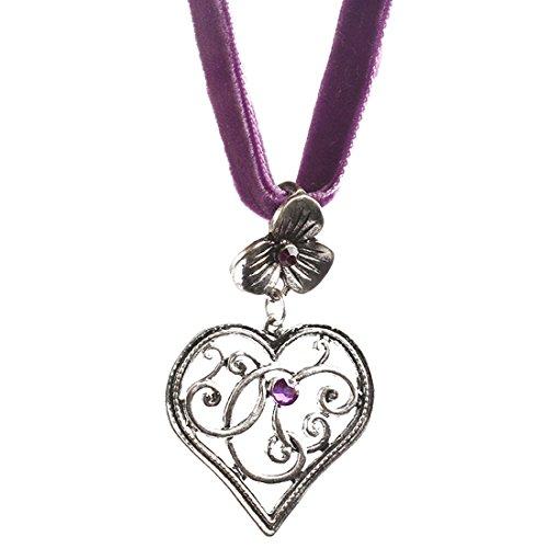 EROSPA® Oktoberfest Samt-Halsband mit Herz Anhänger Damen Halskette Schmuck Dirndl Trachtenmode Wiesn lila