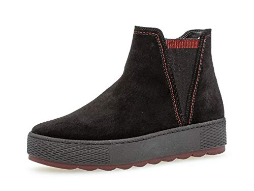 Gabor Damen Chelsea Boots 36.560, Frauen Stiefelette,Stiefel,Halbstiefel,Bootie,Schlupfstiefel,flach,schw(GZ s/rot/Mel),38.5 EU / 5.5 UK