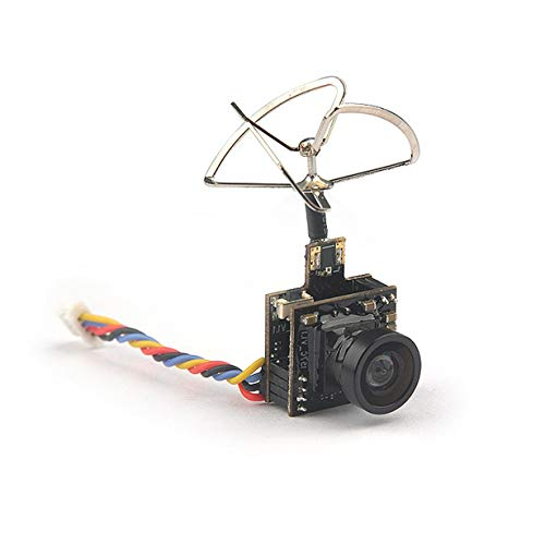 Comomingo HC48DS Mini FPV 600TVL Kamera 48CH 25MW 100MW umschaltbar AIO FPV VTX Cam (Schwarz) Wide Band Directional Antenna
