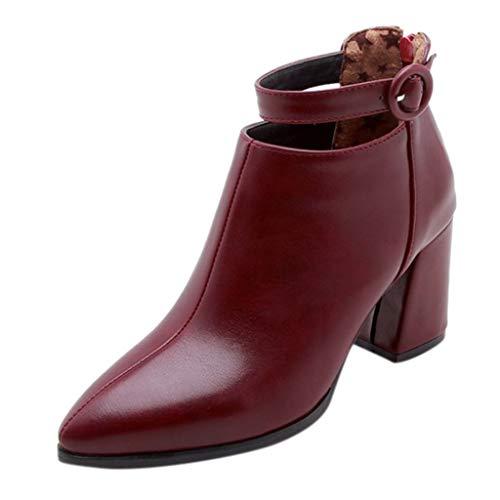 Tohole Stiefeletten Damen Mit Absatz Warme Lederstiefel Retro Niedriger Blockabsatz Winter Herbst Stiefel Schuhe Outdoor Wanderschuhe Schnalle Ankle Boots(Wein,35.5 EU)