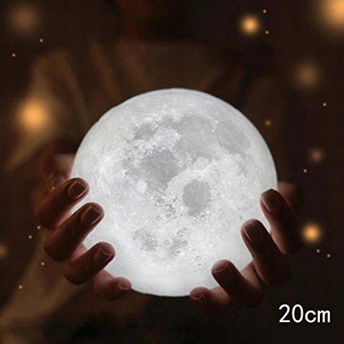 TWIFER 3D USB LED Magische Mond Nacht Licht Mondschein Tisch Schreibtisch Mond Lampe Geschenk (mit Stent) (20 cm) (Lampe Mit Edelsteinen)