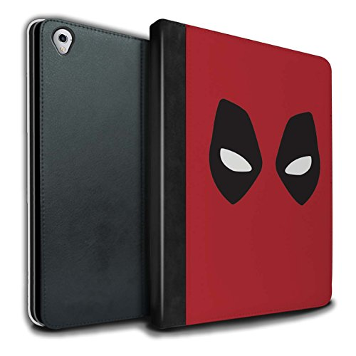Stuff4® PU-Leder Hülle/Case/Brieftasche für Apple iPad Pro 9.7 Tablet/Deadpool Maske Inspiriert Muster/Superheld Comic-Kunst Kollektion