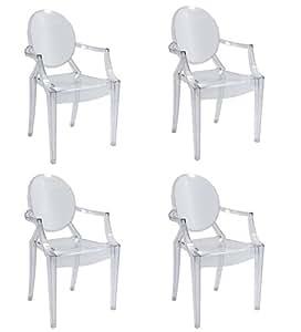 Set 4 sedie replica louis ghost design in policarbonato for Replica sedie design