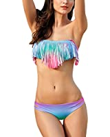 DJT Sexy Maillots de Bain 2 piššces š€ la mode - Ensemble Bikini š€ Frange en Polyester et Spandex Pour Femme ElšŠgante šŠtšŠ Plage Natation