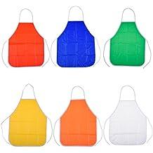 Blulu 6 Paquetes Delantal para Pintura Delantal PVC de Niños para Aula y Cocina