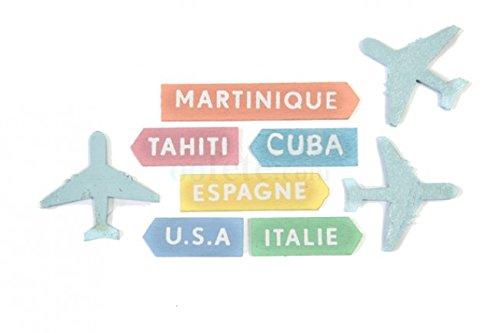 Streudeko Mini Flugzeuge & Reiseziele aus Holz- Inhalt 9 Stück pro Verpackungseinheit