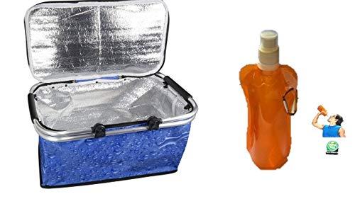 Faltbar cestini da picnic pieghevoli, capienza grande, borsa frigo pieghevole, borsa termica, borsa per la spesa, borsa termica, borsa da picnic da viaggio, borraccia da 0,5 litri