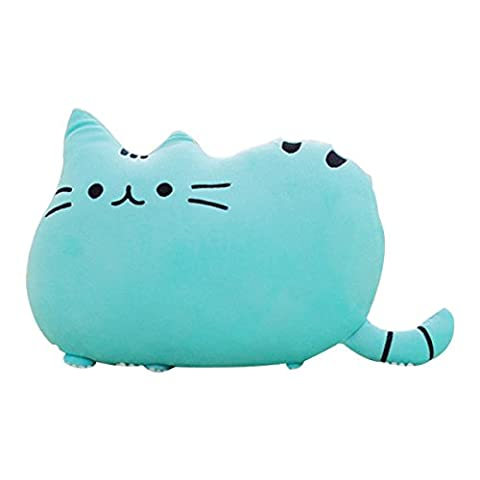 hqclothingbox Big Cat Shaped Throw Pillow Pet Sofa Decorative Cushion Soft Plush Toy Doll 15inches 1PC blue by Hqclothingbox