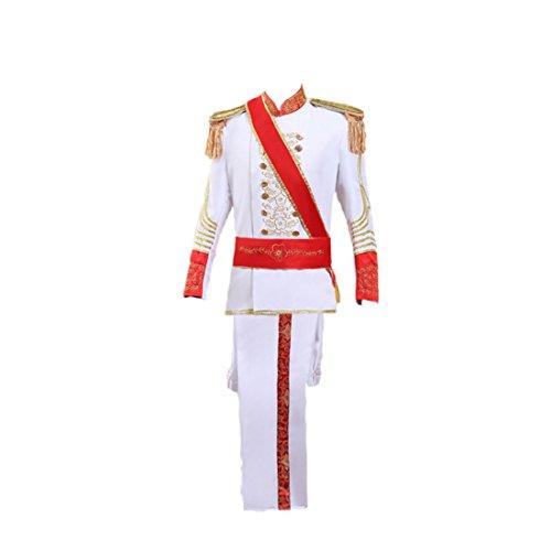 enaissance mittelalterliches Kostüm Band Cosplay Kostüme Erwachsene (Weiß, S) (Männliche Prinz Kostüm)
