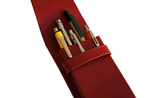 Preisvergleich Produktbild Leder Etui für 5 Füller Kugelschreiber Bleistift, Schreibgeräte Farbe Rot Echt Leder !