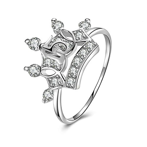 Beydodo Sterling Silber Ringe Verlobung Krone Nummer 15 Rund Brillant Weiß  Zirkonia Eherring Verlobungsring Silber Gr.60 (19.1) f04c79dbb0