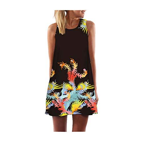 DROTYK& Women Summer Boho Short Maxi Dress Evening Cocktail Party Beach Dresses Sundress Style 7 Colorful Grass XXL
