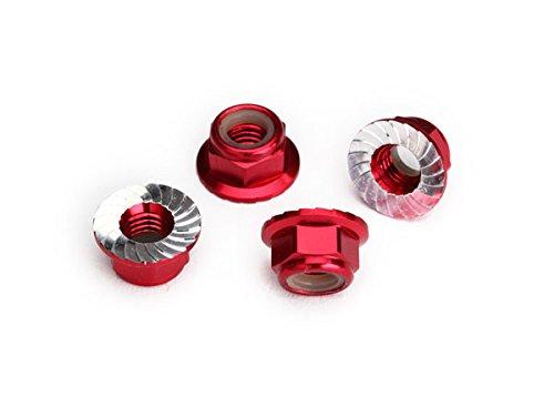 Traxxas 8447R Kragen-Stoppmutter 5mm Alu verzahnt (4) rot -