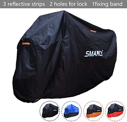 Smarcy Funda Protector para Moto, Cubierta para Moto / Motocicleta Resistente al Agua a Prueba de UV, Color Negro XL
