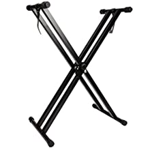 RockJam RJX29 Double braced Keyboard Stand Adjustable 29 cm to 91 cm with locking Straps to secure Keyboard Piano