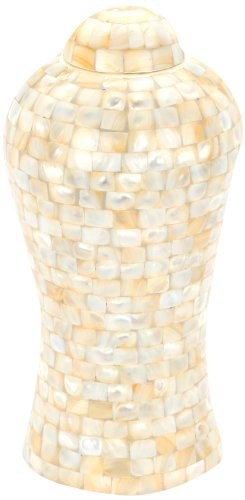 Urns UK 13-inch Aluminium Metal Lynton Mother of Pearl Urn, Pearl