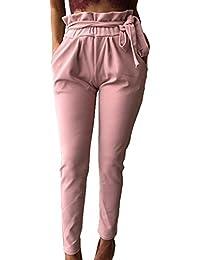 Bevalsa Femme Pantalon Carotte avec Ceinture Obi,Mode Casual Chic Longue  Fuselé Ajusté Coton Élastique f2cc4c35494e