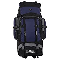 Extra Large 80 Litre Travel Hiking Camping Rucksack Backpack Holiday Luggage Bag (Black/Blue)
