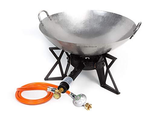 Wokbrenner Set/Gaskocher 7,5KW mit Gasschlauch + Druckminderer + 45 cm Stahl Asia-Wokpfanne (Gusseisen Hockerkocher, Asia Kocher, Gastrokocher, Gasherd, Campingkocher für Wok)