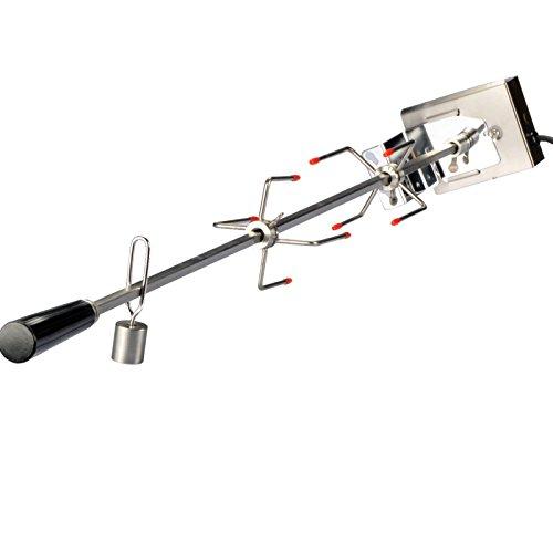 104cm Edelstahl Drehspieß Grillspieß für Gasgrill Grill mit Motor 220V 10x10mm - Drehspieß Gegengewicht