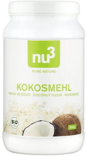 nu3 - Farine de Coco Bio   800g   Riche en Fibres et en nutriments   Alternative sans gluten à la farine de blé   Idéal pour les recettes faibles en glucides (low carb) et vegan   Utilisable pour la cuisine et la pâtisserie