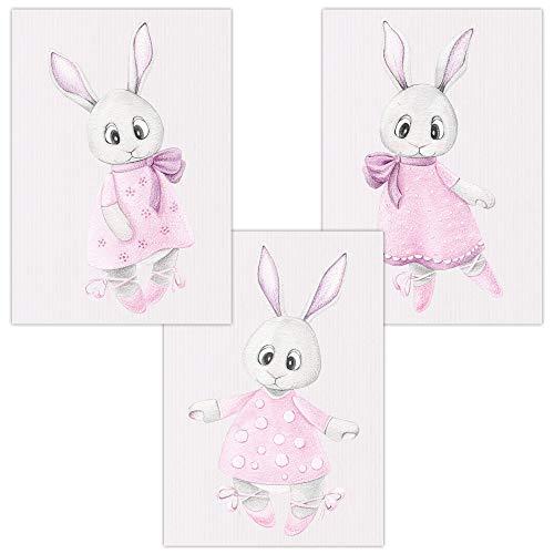 """Wandbilder 3er Set für Baby & Kinderzimmer Deko Poster Ballerina Hase in rosa   Kunstdruck DIN A4 ohne Rahmen und Dekoration (Ballerina""""Hase"""" in rosa)"""