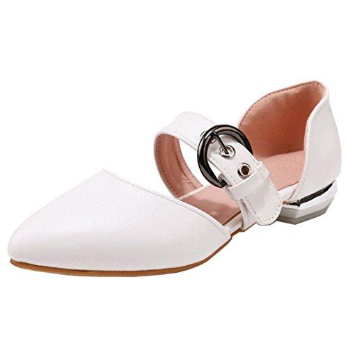 TAOFFEN Femme Confort Plat Sandales Boucle Bout Ferme Ete Ecole Chaussures Blanc