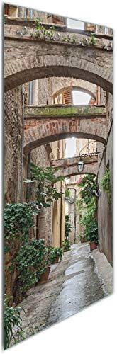 Wallario Wandgarderobe aus Glas in Größe 50 x 125 cm in Premium-Qualität, Motiv: Grüne Italienische Gasse - mit Alten Bögen | 7 Kleiderhaken Zum Aufhängen von Jacken
