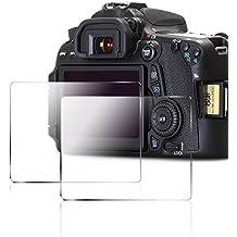 Pellicole Protettive per Canon 70D 80D, AFUNTA Antigraffio Vetro Temperato Proteggi Schermo per Canon EOS 70D 80D (2 Pezzi)