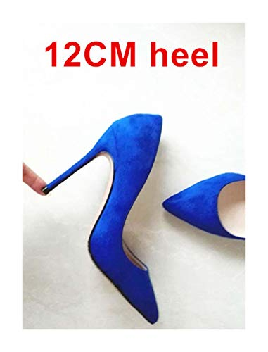 Stilettos Womens Shoes High Heels 12CM High Heels Purple Shoes Pumps Women Heels Sexy Pointed Toe Wedding Shoes for Woman B-0049 Blue 12cm Heel 6