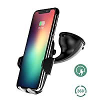 Wireless Car Charger, Auckly Qi Fast Wireless Charger Car Holder with Type C Port Car Mount Air Vent Stand for iPhone 8/ 8 Plus/ X/Samsung Galaxy S8/ S8+/ S7/ S6 Edge+/ Note 5