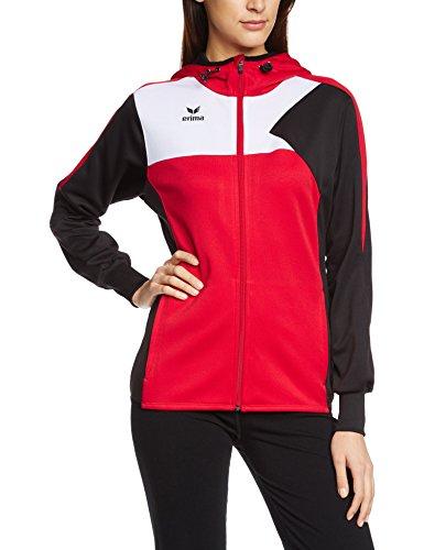 Erima Premium One Veste d'entraînement à capuche Femme, Rouge/Noir/Blanc, FR : XL-XXL (Taille Fabricant : 48)
