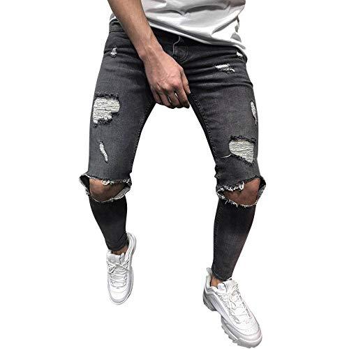 Sumeiwilly Herren Denim Jeans Stretch Denim Hosen Distressed Zerrissen Ausgefranste Slim Fit Zipper Jeans Hosen Männer Hosen Sommer Sport Stretch Streetwear Hosen, S-4XL - Classic Distressed Jeans