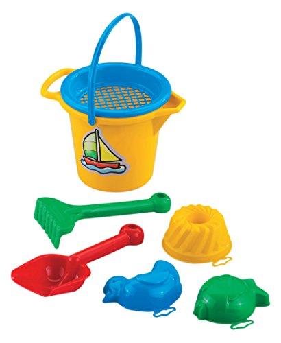 (Kleines Sandset 7 tlg. Eimer Förmchen Sieb Strandset Strandspielzeug Spielzeug Sandspielzeug Kinderspielzeug Harke Schaufel Sandkasten Kinder Strand Sand Sandkasten)