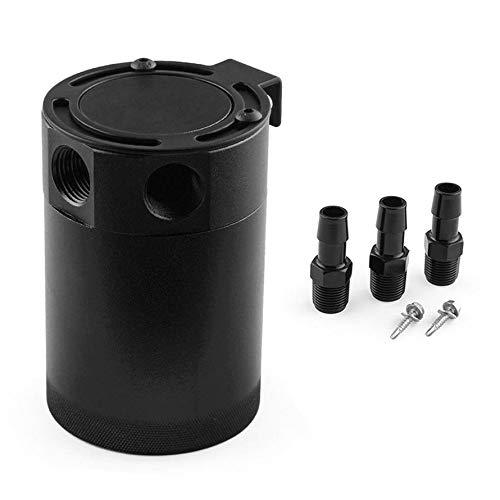 Preisvergleich Produktbild Huihuiya Hochleistungs-Schwarze Aluminiumlegierung Racing BAFFLED 3-Port Oil Catch Can-Black