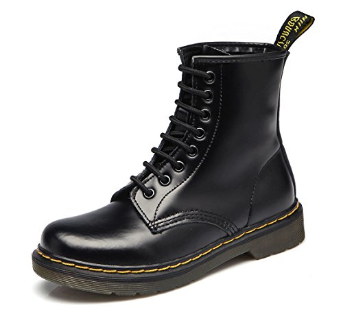 uBeauty Damen Martin Stiefel Flache Boots Klassischer Stiefeletten Schnüren Freizeitschuhe Schwarz 38 EU