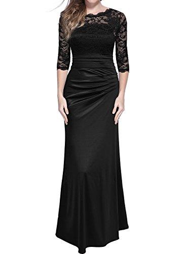 Miusol Damen Elegant Abendkleid Rundhals Schwarze Spitzen Brautjungfer Cocktailkleid Vintage Cocktailkleid Langes Kleid Schwarz Gr.M (Kleid Schwarzes Langes)
