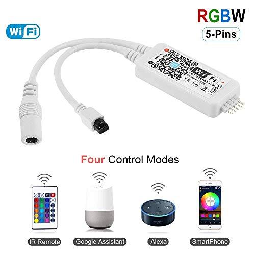 HaoDeng Mini RGBW/RGB wifi Controller für Led Streifen/Strip mit Alexa,Google Home, IFTTT gesteuert,IR Fernbedienung Arbeiten,16 Mio Farben,20 Dynamische Modi