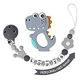 Cadena Para Chupetes Personalizado Para Bebe con Nombre Silicona Clips de Chupete Soothie Clip Corona Mordedor Sin BPA (Dinosaurio Gris)