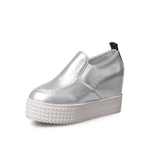 AgooLar Damen Ziehen Auf Rund Zehe Hoher Absatz Rein Pumps Schuhe Silber