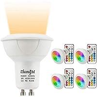 Bombillas LED Foco GU10 Blanco Calido RGBW 3W Colores Lámparas Bombillas regulable por 21 llaves Remote Control RGB + Blanco cálido 2700K 200LM AC85-265V decoración del hogar (Paquete de 4)