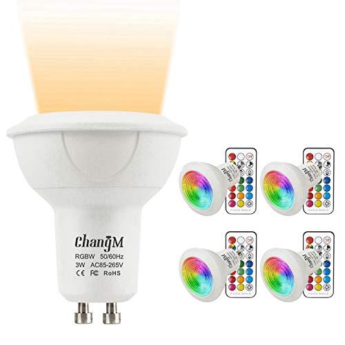 GU10 LED Lampe RGB+Warmweiss Farbwechsel Spot Licht 3W, 200LM, RGBW Dimmbar durch mit Fernbedienung 20W Halogenlampen Gleichwertige(4er Pack)