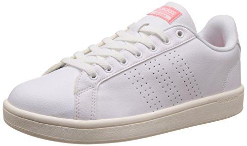 adidas Damen Cloudfoam Advantage Clean Sneakers, Weiß (Footwear White/Footwear White/Ray Pink), 40 EU Adidas Weiß Basketball-schuhe