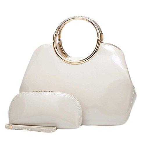 Mode Lackleder Handtaschen Trendy Handtasche Braut Paket Stereotypen Paket,Blue1 White